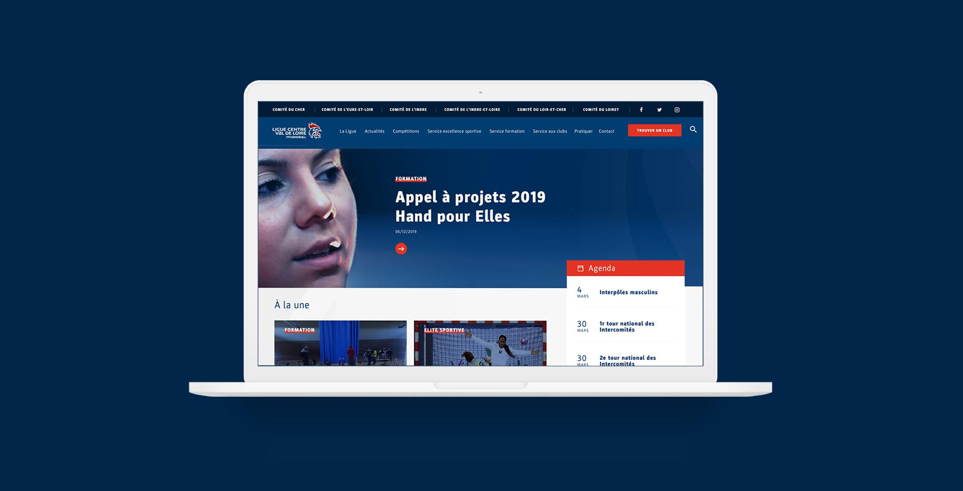 Design et développement du site web de la Ligue du Centre Val de Loire de Handball par agence conseil en communication Buzznative Orléans
