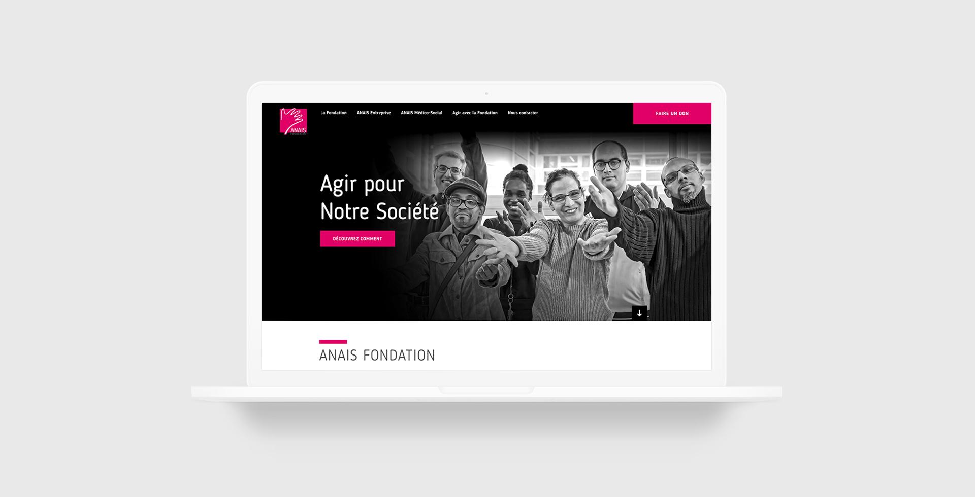 Développement du nouveau site web Fondation ANAIS par agence communication Buzznative Paris