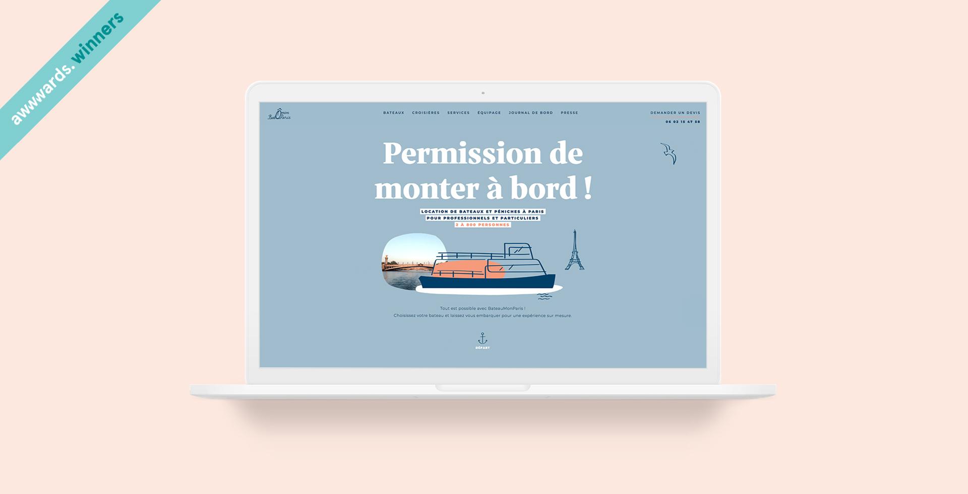 Création site web Bateau Mon Paris récompensé Awwwards par agence communication web Buzznative paris Orléans